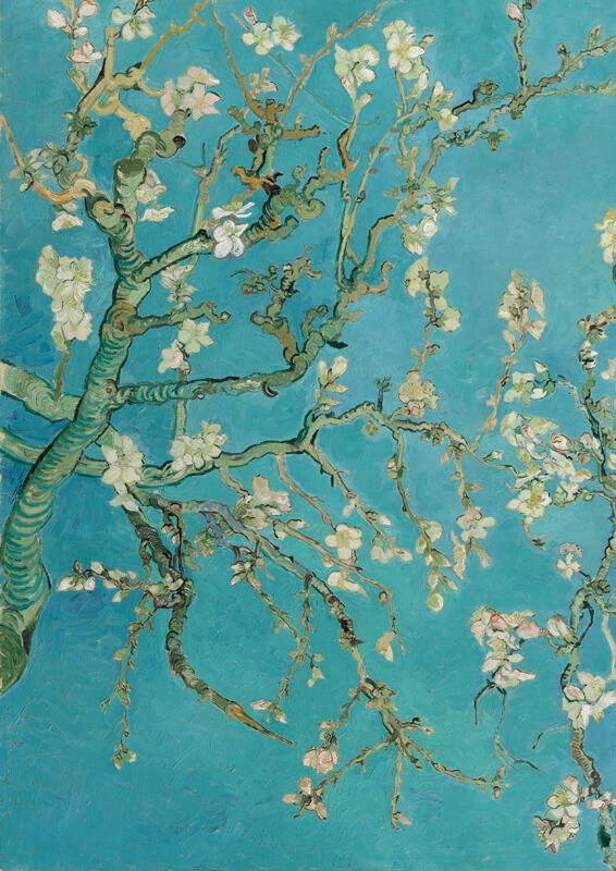 Print op hout, Amandelbloesem Van Gogh