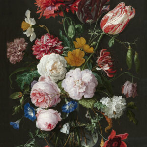 Print op hout, Vaas met bloemen De Heem