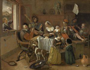 Print op hout, Het vrolijke huisgezin Jan Steen