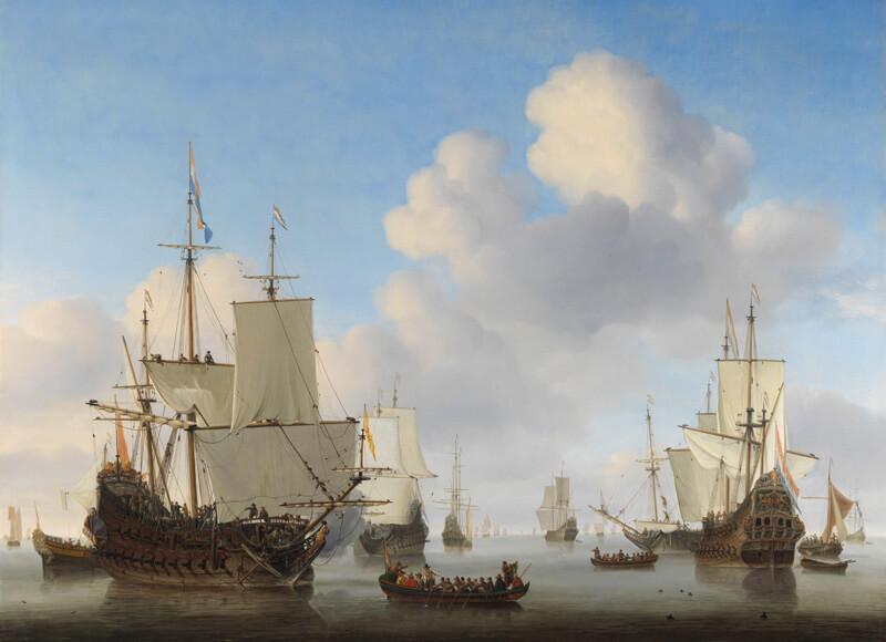 Print op hout, Hollandse schepen op een kalme zee (Willem van de Velde)
