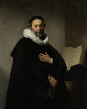 Print op hout, Portret van Johannes Wtenbogaert – Rembrandt van Rijn