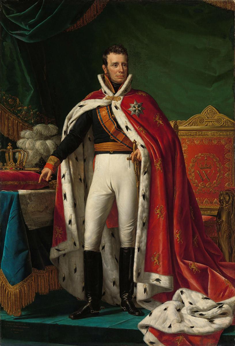 Print op hout, Koning Willem I, geschilderd door Joseph Paelinck
