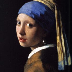 Print op hout, Meisje met de parel Vermeer