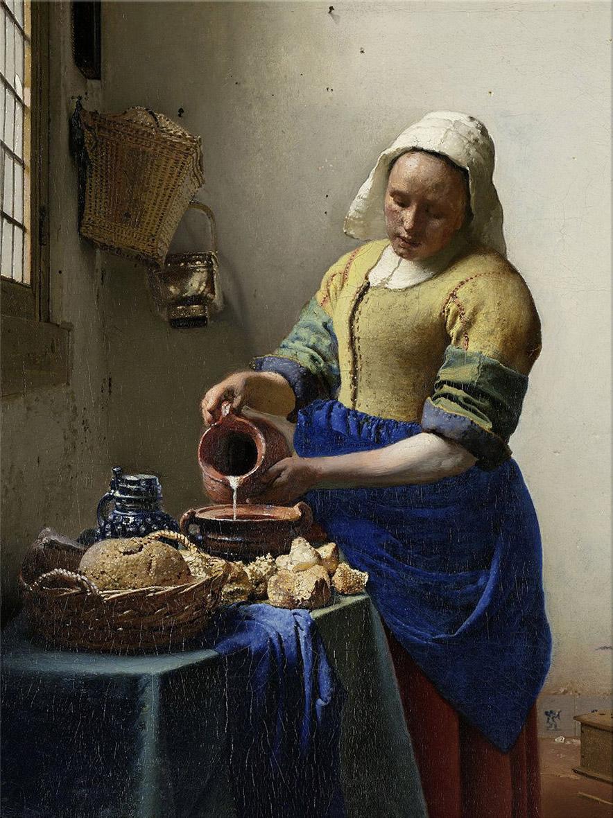 Print op hout, Het Melkmeisje geschilderd door Johannes Vermeer