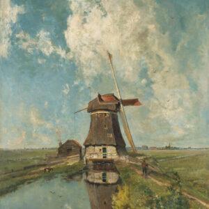 Print op hout, Een molen aan een poldervaart – Paul Joseph Constantin Gabriël