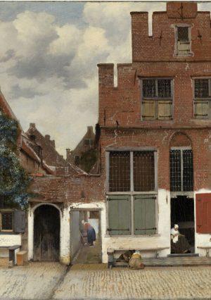 Print op hout, Straatje van Vermeer
