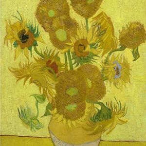 Print op hout, Zonnebloemen Van Gogh